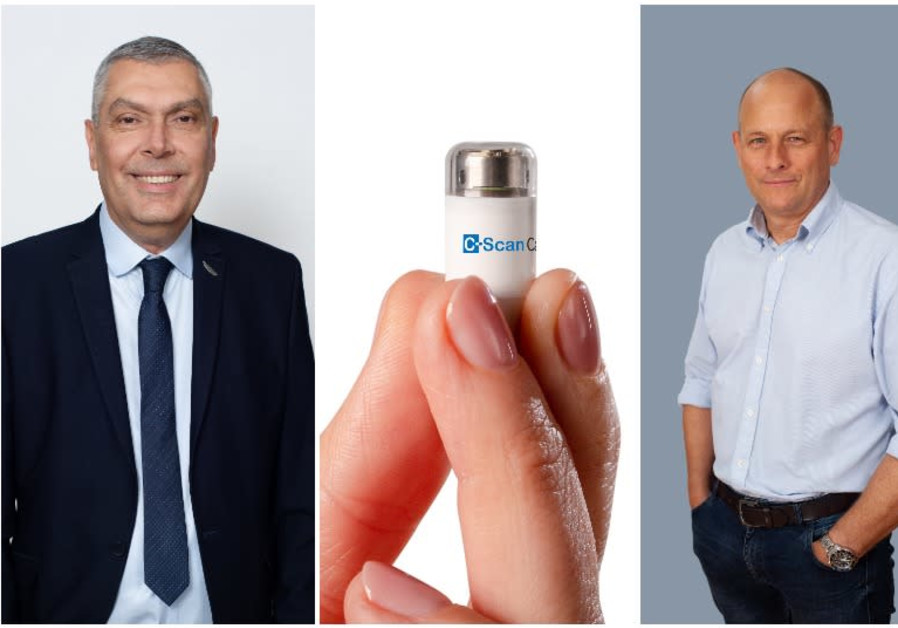 Check-Cap CEO Alex Ovadia (left), the C-Scan capsule, and  founder and CTO Dr. Yoav Kimchy (Credit: Check-Cap)