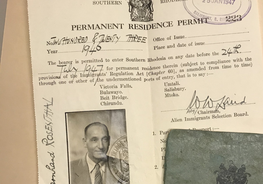 A German refugee's pass to settle in Rhodesia (Credit: United States Holocaust Memorial Museum/Gift of Ronald Glass via JTA)