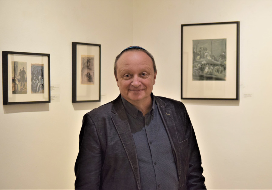 Mikhail Yakhilevich, artist and grandson of Meer Axelrod, is seen at the exhibition of Axelrod's 'Nazi Occupation' series in Zagreb, Croatia. (Credit: Maya Laskovich)