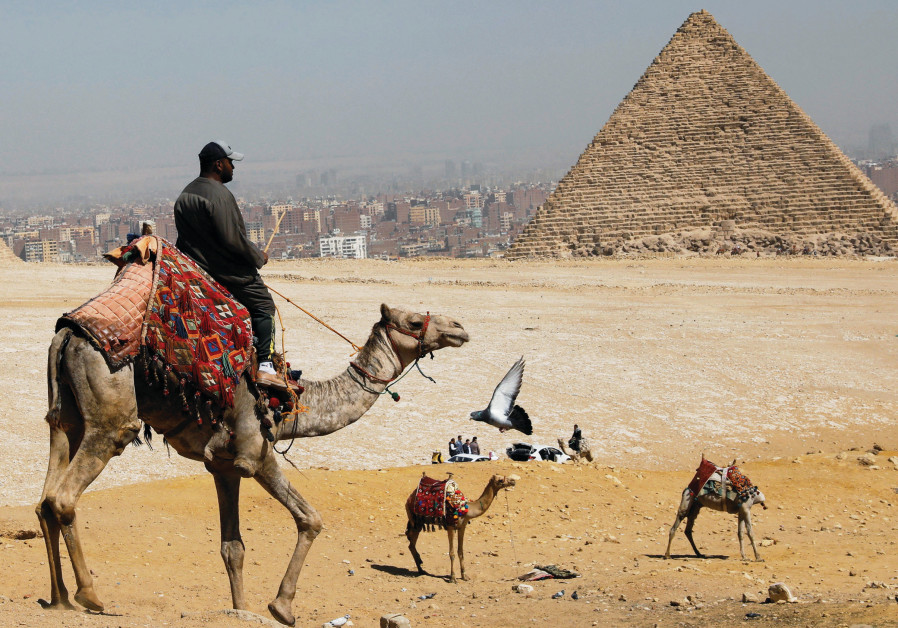 A man waits for tourists to rent his camels in front of the Great Pyramids of Giza last month. (Photo Credit: Mohamed Abd El Ghany/Reuters)