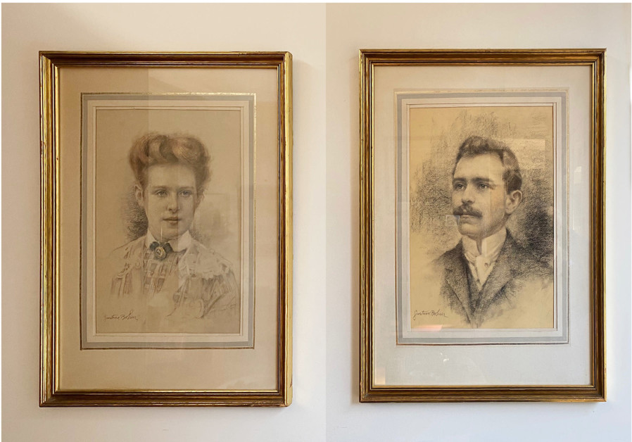 TWO PORTRAIT charcoal drawings by Gustave Boehm of Gisella and Moritz Rooz, done shortly after their marriage. Their life took them from Hungary to Germany to Czechoslovakia and, finally, to the US (Photo Credit: Courtesy)