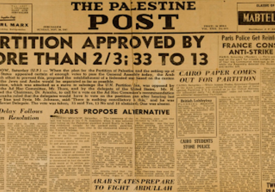 A scan of the Palestine Post edition for November 30, 1947, a day after the UN voted in favor of the Partition Plan. (Credit: Center for Online Judaic Studies)
