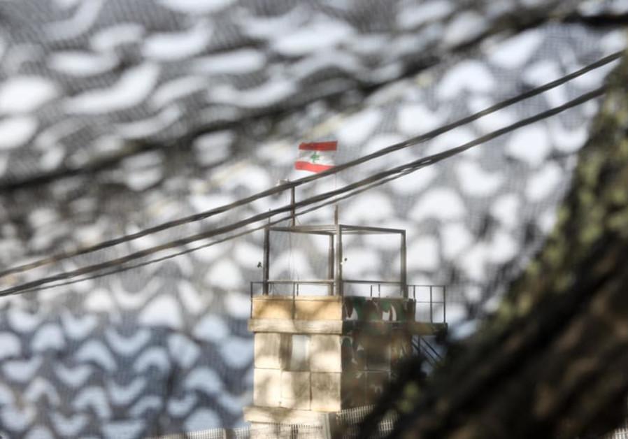 Lebanese watchtower on the border with Lebanon (Photo Credit: Marc Israel Sellem/The Jerusalem Post)