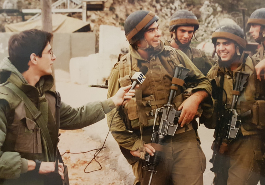 AN IDF radio reporter interviews a squad of Golani soldiers, Beaufort, November 1996 (Photo Credit: Courtesy)