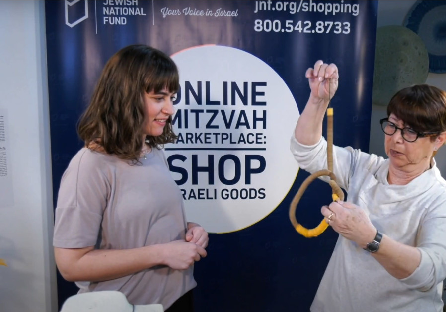 Jewelry maker Hedva Klein talks about her creations on JNF-USA's Online Mitzvah Marketplace (Credit: JNF-USA)