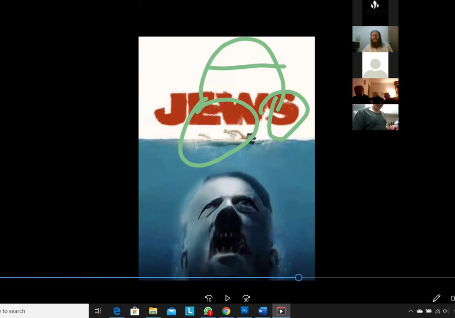 "Antisemitic ""zoombomb"" shows the poster for the movie ""Jaws"" with Hitler as the shark about to eat the title, which reads ""Jews"" (Credit: Courtesy Steinzaltz Center)"