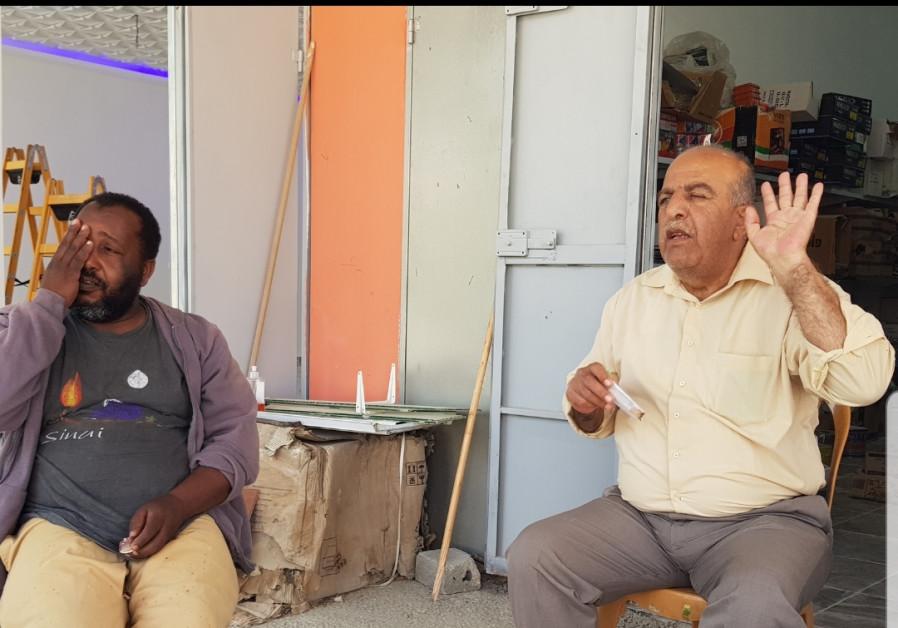 Rizek Shabanat (right) and Erkan Abu Zayed. (Photo credit: Khaled Abu Toameh)