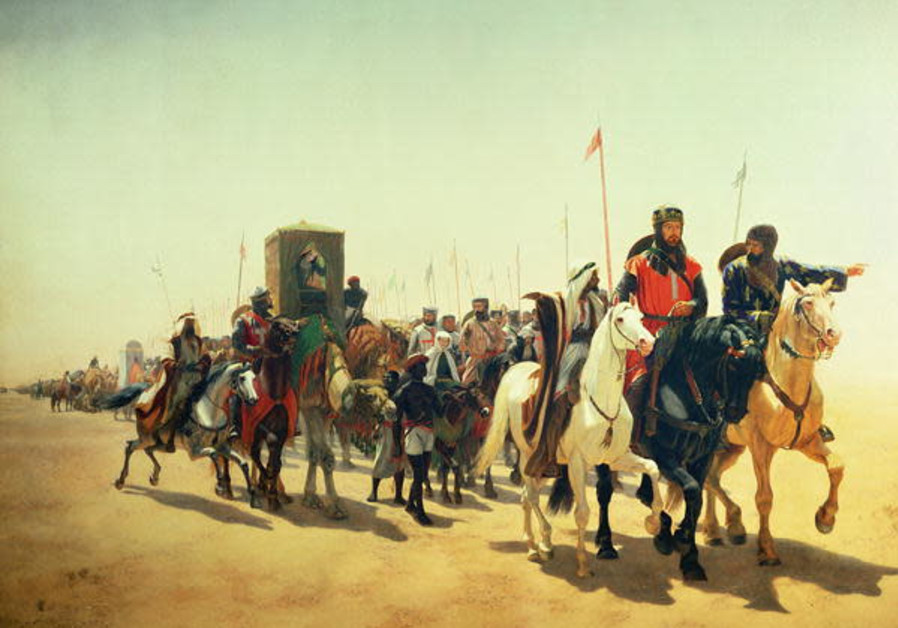 Painting of Richard the Lionheart on his way to Jerusalem by American painter James William Glass (Photo Credit: Wikipedia)