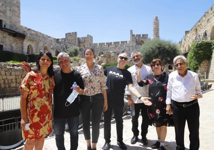 AT THE Tower of David (left to right): Museum director Eilat Lieber; Gavri Banai; exhibition curator Tal Kobo; musical adviser Yoav Kutner; Evyatar Banai and his parents Simcha and Judge Yitzhak Banai (Photo Credit:Ricky Rachman)
