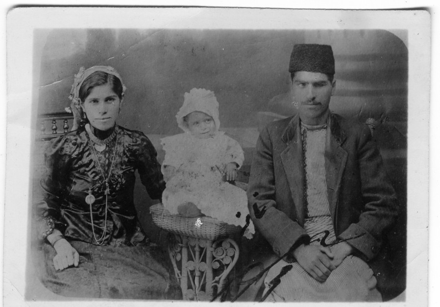 BACHORA AND Meir Banai, grandparents of the first generation of the Banai stars, with their eldest son Shmuel, Jerusalem, 1915 (Photo Credit: Yad Izhak Ben-Zvi Photographic Archives)