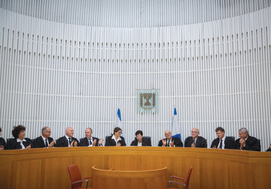ON THE bench as incoming president with outgoing counterpart Miriam Naor (center) and fellow justices at an October 2017 ceremony in honor of Naor's retirement (Photo: Yonatan Sindel/Flash 90)