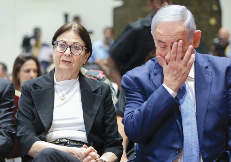 WITH PRIME MINISTER Benjamin Netanyahu at a ceremony in memory of departed Israeli presidents and prime ministers, at the President's Residence in Jerusalem in 2019. (Photo Credit: Noam Revkin Fenton/Flash90)