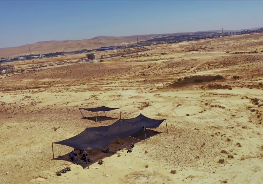 Aerial photography of the excavation by the Antiquities Authority near Dimona (Credit: Emil Eljem/IAA)