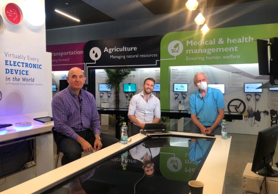Zisapel, Tietz and Gafni at the innovation center live broadcast (Credit: Taglit)