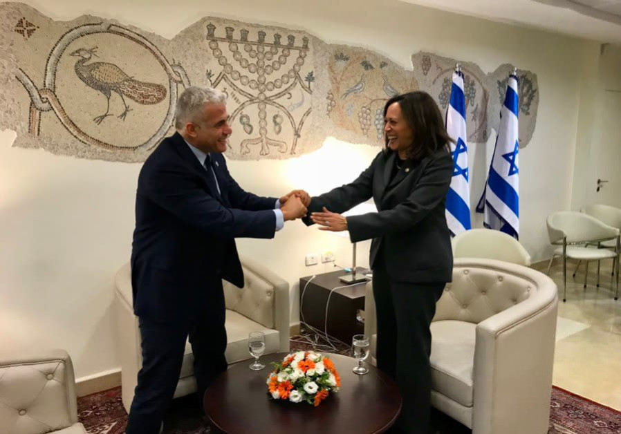 Opposition leader Yair Lapid with Kamala Harris in November 2017 (Courtesy Yair Lapid)