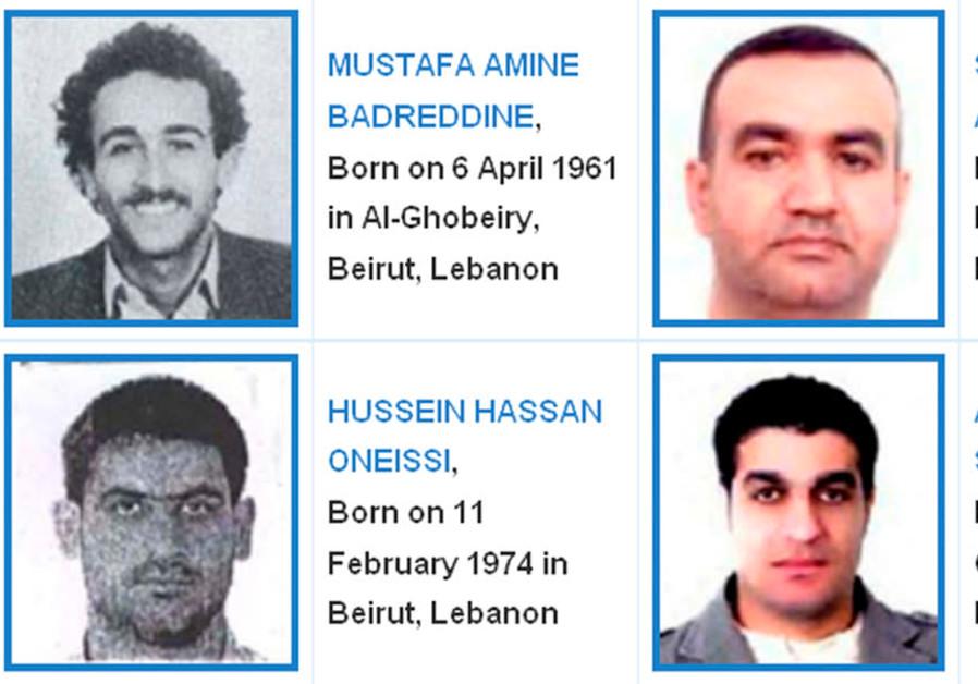 Le site Web du Tribunal spécial pour le Liban soutenu par l'ONU montre les photos de quatre hommes recherchés pour l'assassinat de l'homme d'État Rafik al-Hariri dans cette capture d'écran réalisée à Singapour le 29 juillet 2011 (Crédit: REUTERS / Tribunal spécial pour le Liban / Document / Fichier photo)