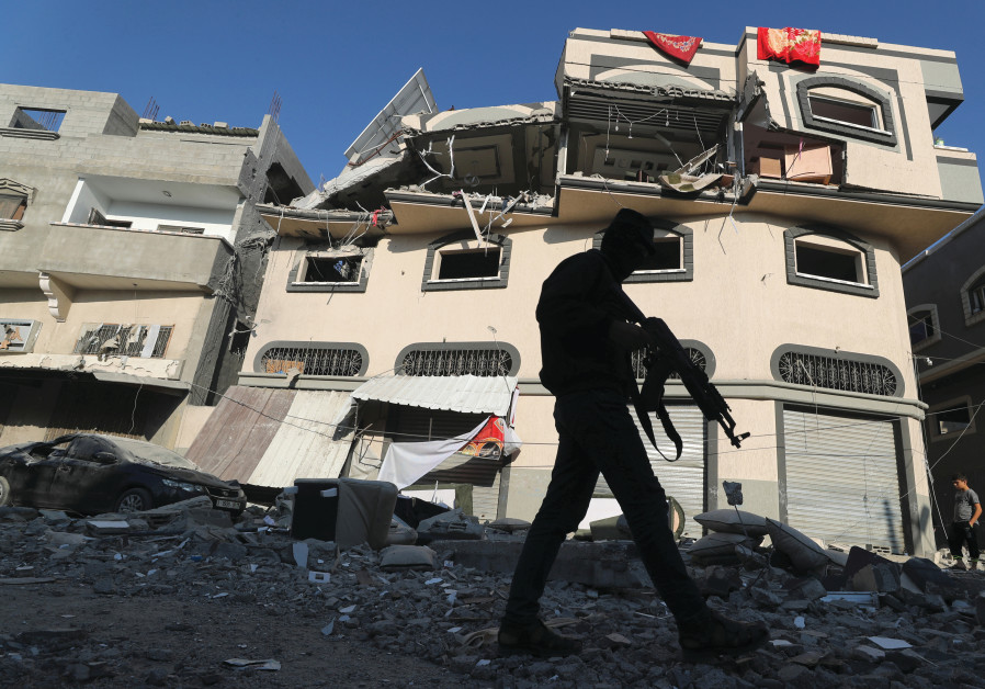 The home of Islamic Jihad commander Baha Abu al-Ata after it was hit by the Israeli strike that killed him, in Gaza City on November 12, 2019. Credit: Mohammed Salem/Reuters)