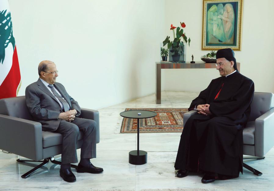 LEBANESE PRESIDENT Michel Aoun meets with Lebanese Maronite Patriarch Bechara Boutros Al-Rai, at the presidential palace in Baabda on July 15. (Dalati Nohra/Handout via Reuters)