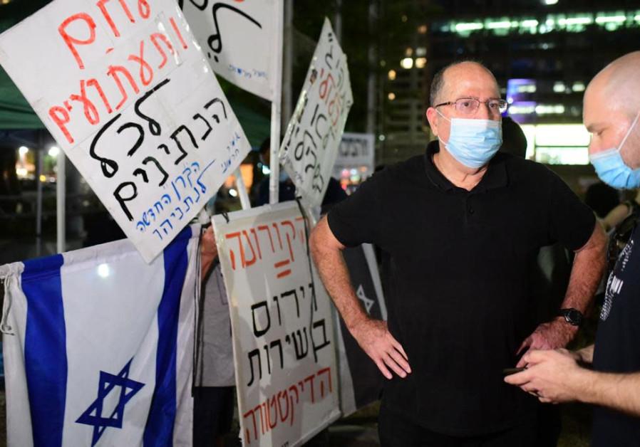 """MK Moshe """"Bogie"""" Ya'alon at Rabin Square, Tel Aviv, August 27, 2020. (Credit: Sassoni Avshalom)"""