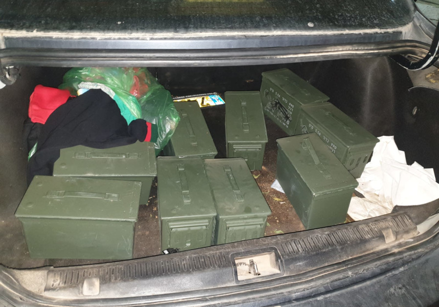 10 IDF boxes with10,000 5.56 rifle bullets. (Credit: Boder Crossings Authority/Ministry of Defense)