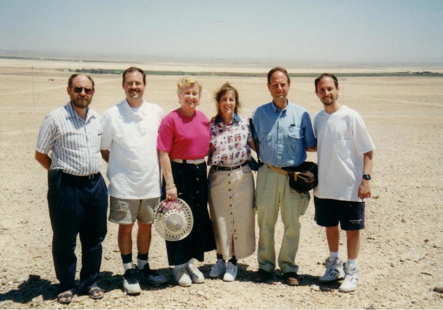 SARA RAAB and her children in 1996 near Dawson's Field in Jordan, where they were held on the hijacked plane. (Courtesy David Raab)