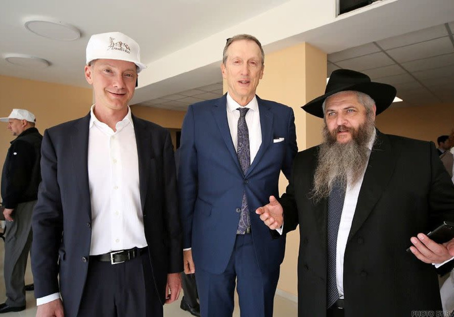 VISITING Anatevka (from left): Lozhkin; Mark Levin, executive vice chairman and CEO of the National Coalition Supporting Eurasian Jewry; and Ukraine's Chief Rabbi Moshe Azman. (Credit: JCUL)