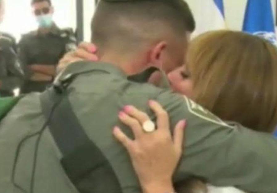 Shlomo Kerner reunited with his mother. (Border Police Spokesperson)