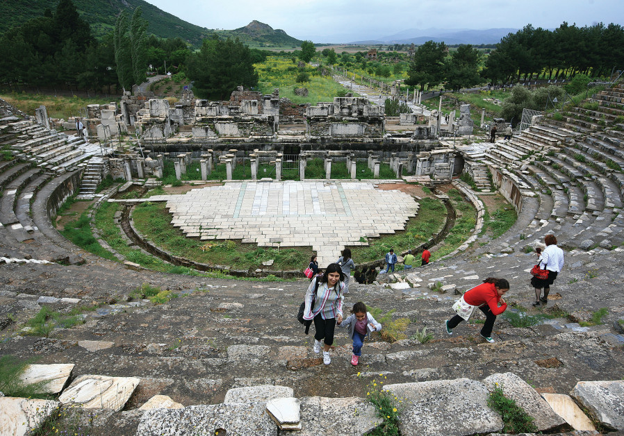 Byzantine amphitheatre at the archaeological ruins of the Ionian city of Ephesus, Western Turkey. (Nati Shohat/Flash90)