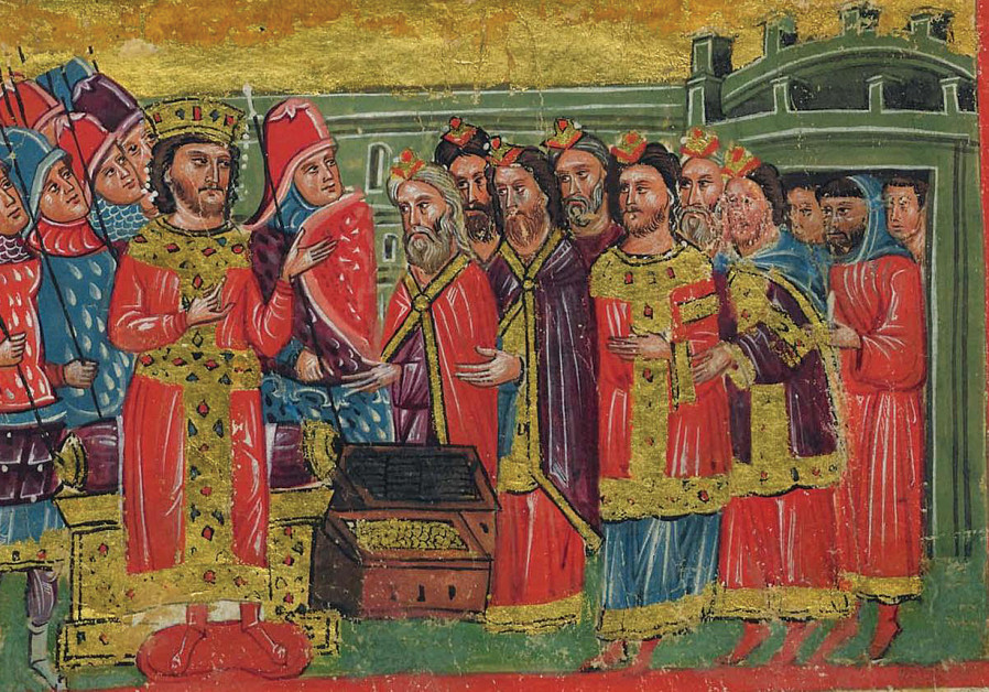 A 14th-century miniature Greek manuscript depicting scenes from the life of Alexander the Great. Here, rabbis wearing distintice ceremonial robes and caps, offer Alexander the Great gold and silver. The whole scene is depicted entirely in Byzantine fashion of the late Byzantine period (1204-1453). (Wikimedia Commons)
