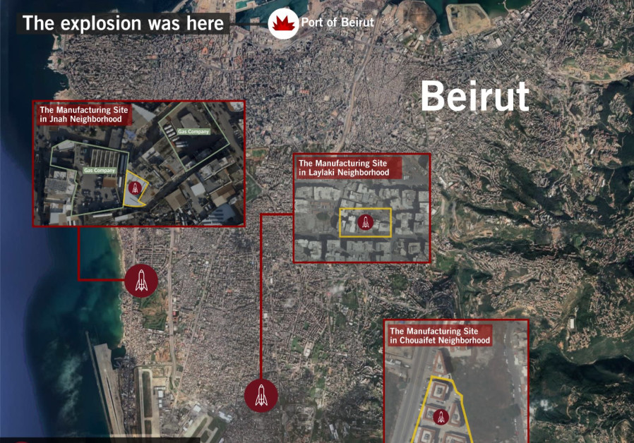 Three Hezbollah missle manufacturing sites in Beirut are highlighted alongside the site of the Beirut Port explosion. (Photo credit: IDF)