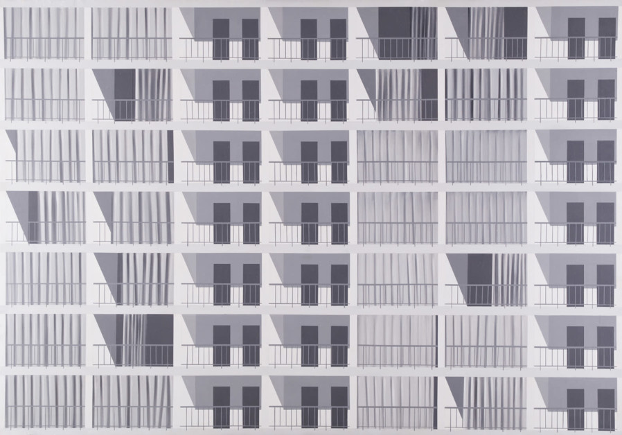 A painting by Israeli artist Micha Ullman, titled Apartment Building. (Stas Korolov)