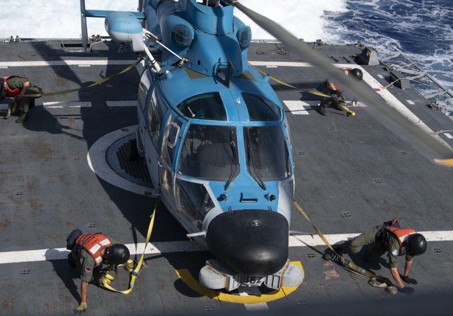 A helicopter aboard the Israeli Navy's 'INS Lahav' as it secures the Leviathan gas field.
