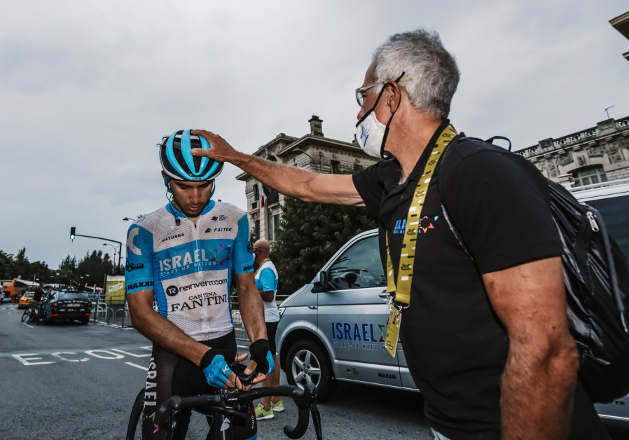 Sylvan Adams with Guy Niv, the first Israeli national to race in the Tour de France.  (Photo: Noa Arnon)