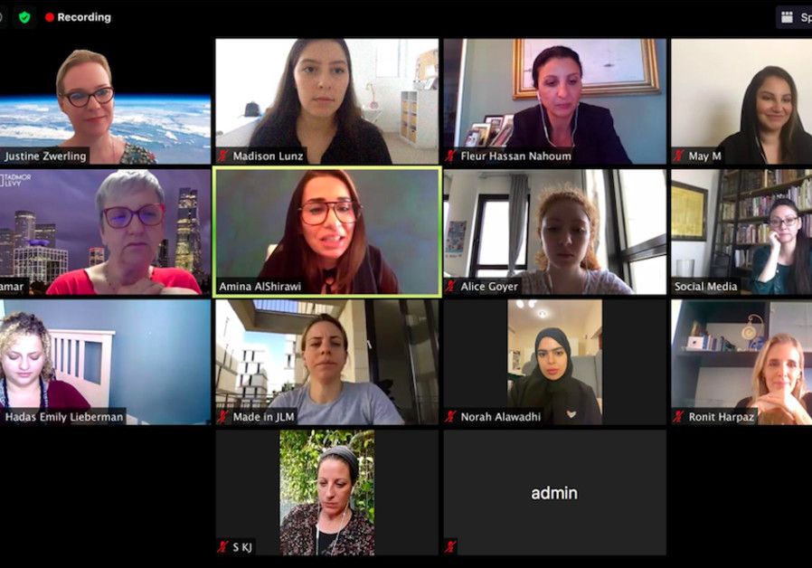 First Zoom call of the Gulf-Israel Women's Forum. Shoshanna Keats-Jaskoll is in the bottom row. (Courtesy)