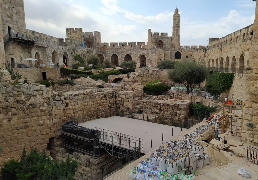 Work being done to renew the Tower of David. (Courtesy Tower of David)