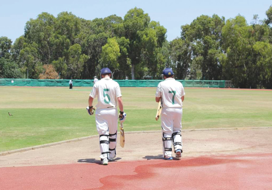 Steven Shain and Mikki Cohen walking out to open the batting for Ra'anana Cricket Club (RCC) in a first division match at Hadar Yosef Stadium (MIKKI COHEN)
