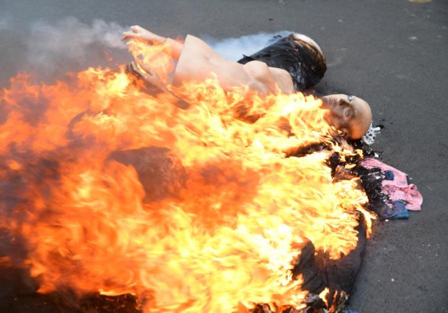Demonstration of the Independents on Jaffa Street in Tel Aviv. (Credit: Sassoni Avshalom)