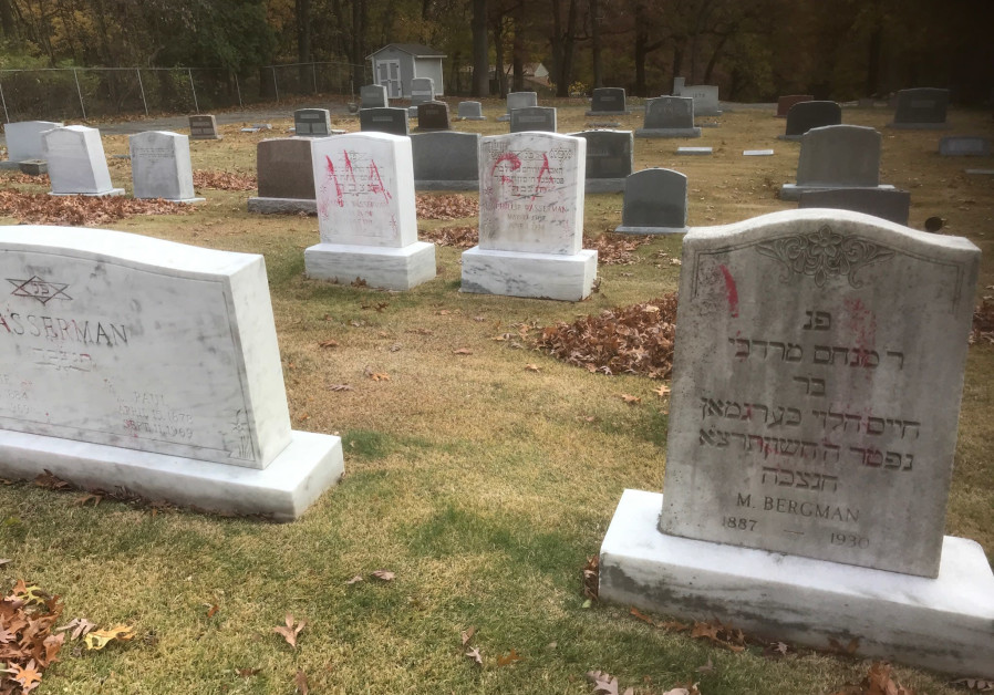 "Graves are tagged with graffiti reading ""MAGA"" at a Jewish cemetery in Grand Rapids. The graffiti was discovered on November 2. (Credit: ADL)"