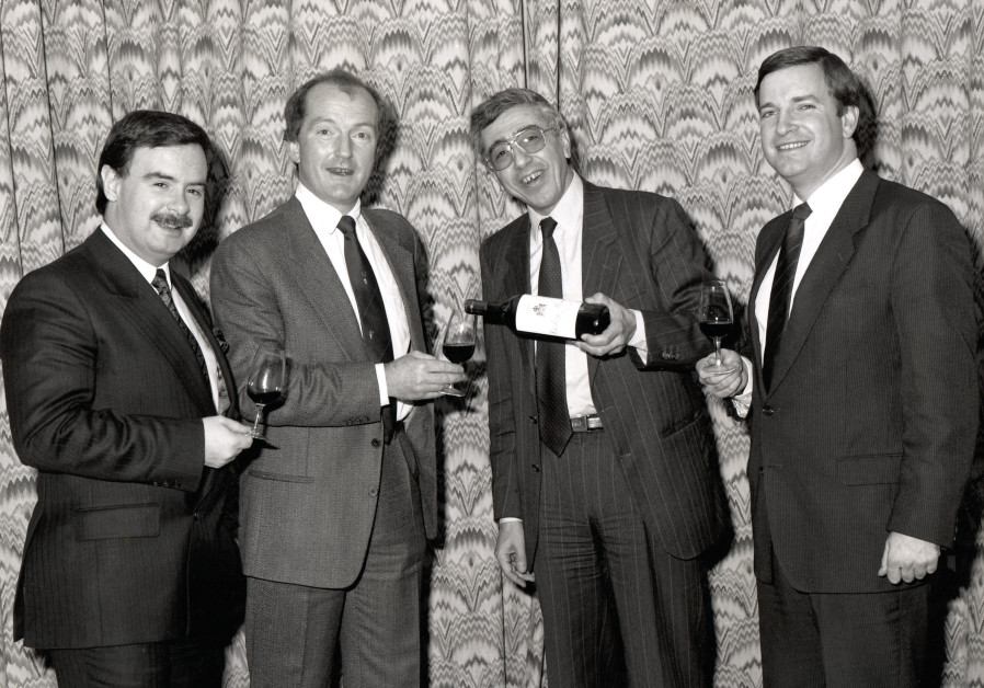 THE LEGEND and his wine. A young Serge Hochar of Chateau Musar (center), with wine writer Oz Clarke (left) and the writer. (Adam Montefiore)