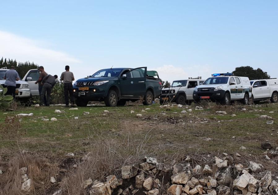 The site near Kibbutz Megiddo where the suspects were located and arrested, Nov. 9, 2020 (POLICE SPOKESPERSON'S UNIT)