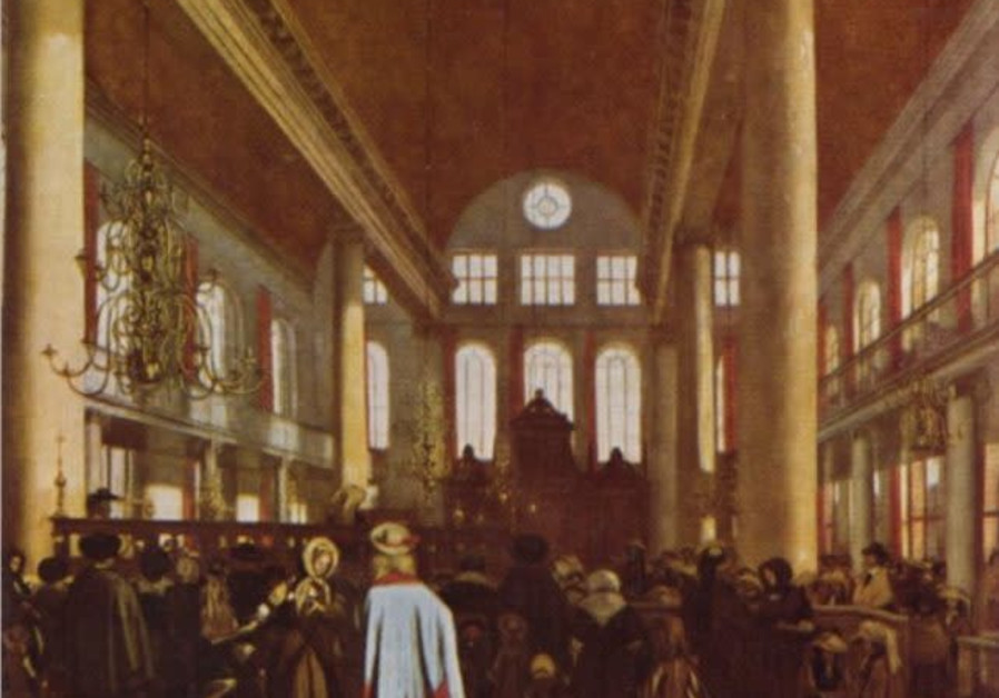 Painting of the interior of the Portuguese Synagogue in Amsterdam by Emanuel de Witte, ca. 1680. (Photo credit: Folklore Research Center at the Hebrew University of Jerusalem; available via the National Library of Israel Digital Collection)