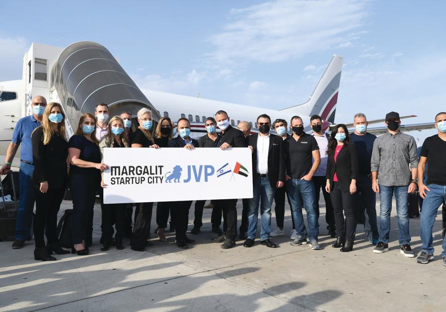 JVP FOUNDER Erel Margalit with the Israeli delegation of 13 CEOs. (Alon Gutman)