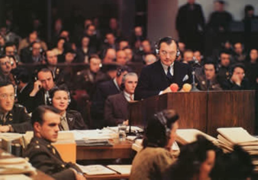 US Prosecutor Robert H.Jackson speaks at the Nuremberg Trials (Wikimedia Commons/Ray D'Addario)