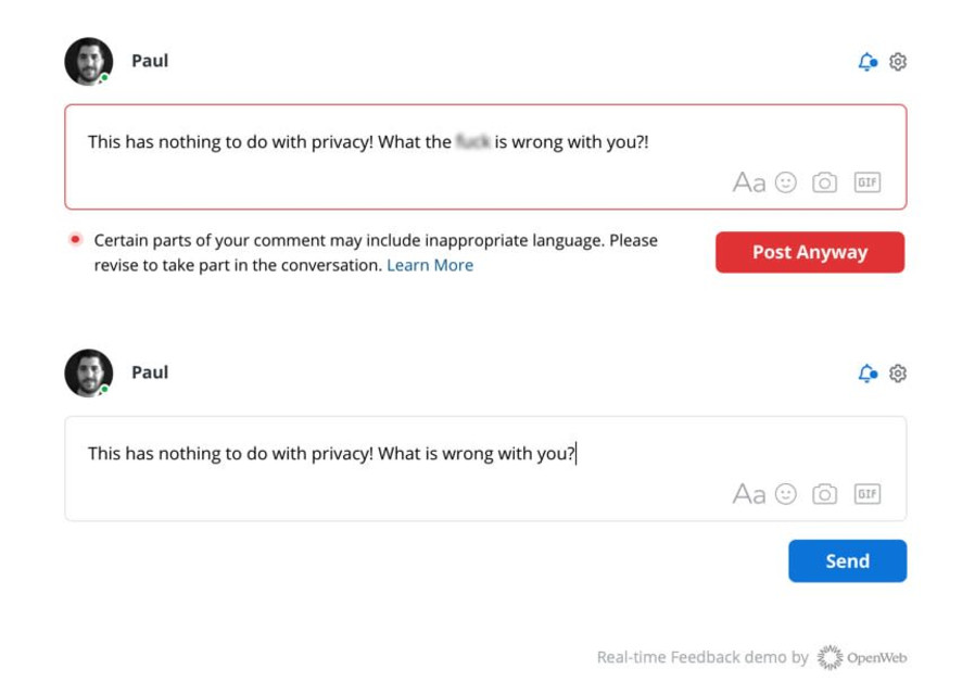 OpenWeb's new Real-Time Feedback feature encourages commenters to reconsider violent language before posting. (Picture: OpenWeb)