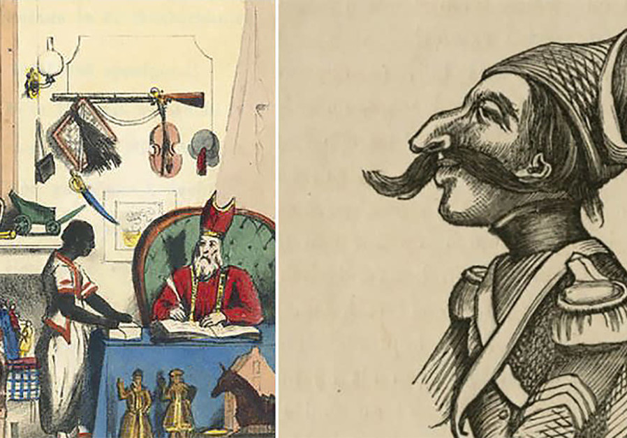 An early depiction of Black Pete, left, by the Dutch author Jan Schenkman in the 1850s, and a caricature of the cowardly Jewish soldier Levie Zadok. (Courtesy of the Amsterdam Jewish Historical Museum)
