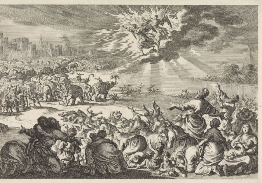 Two angels save the Jews from Ptolemy IV Philopator's drunken elephants, by Jan Luyken, 1700. (Photo credit: Courtesy The Rijksmuseum/National Library of Israel)