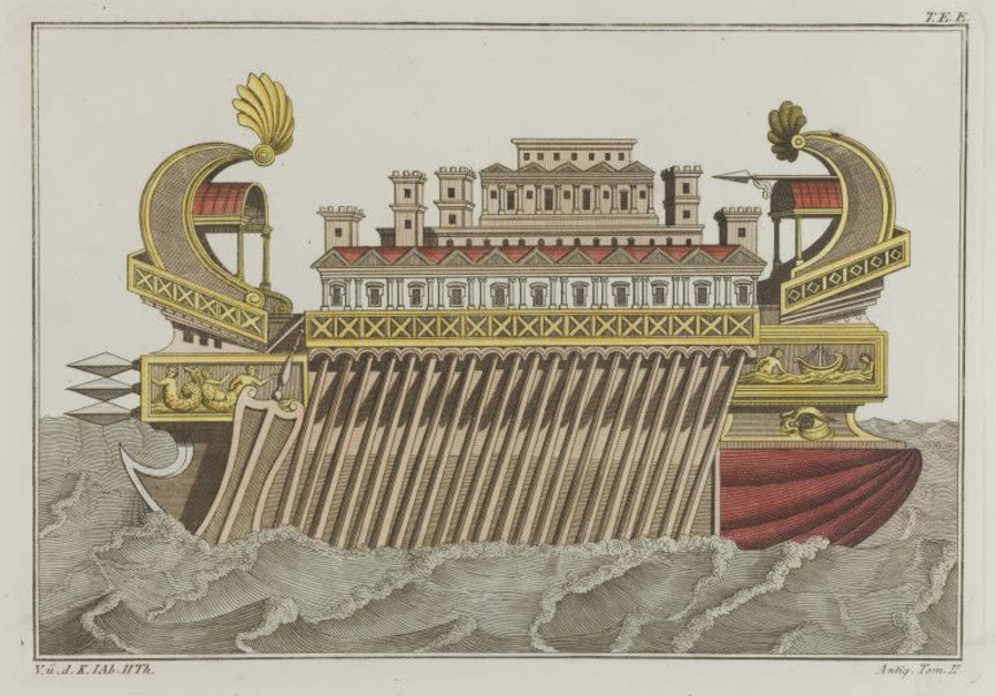 """The flagship of Ptolemy Philopator"" coloured engraving by Robert von Spalart, early 19th c. (Photo credit: Wellcome Library in London/National Library of Israel)"