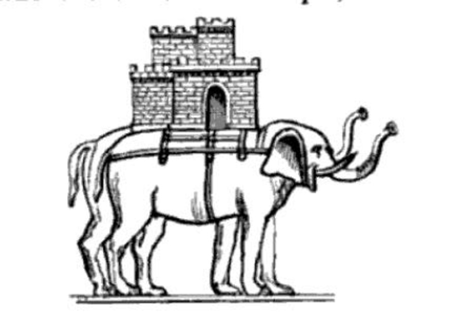 Illustration of a Greek war elephant, from 'A Dictionary of Roman and Greek Antiquities.' (Photo credit: National Library of Israel Digital Collection)