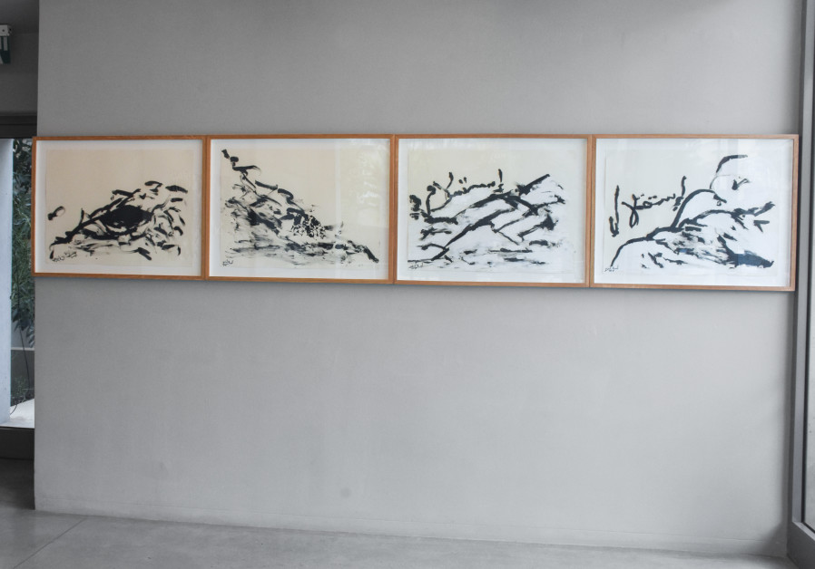 Liberty and Surrender, 1, 2, 3, and 4_ A series of works by Anisa Ashkar, on view at the Lobby Gallery. (Photo credit: Yossi Tzabari)
