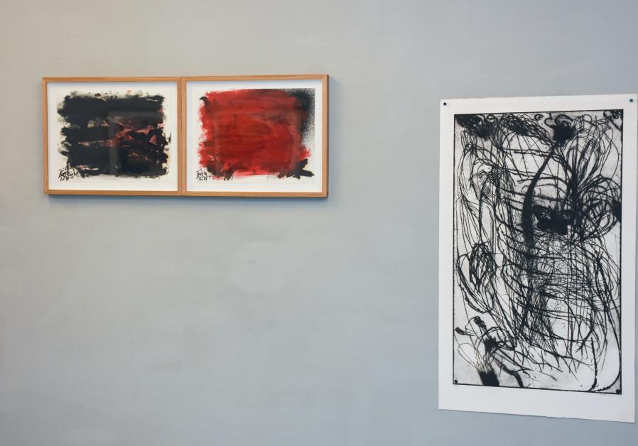 Two works by Anisa Ashkar (The Inner Struggle I and II) from 2015, seen alongside a print by Moshe Gershuni. (Photo credit: Yossi Tzaburi)